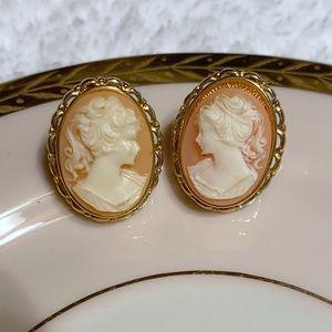 Vintage resin cameo earrings